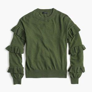 J.Crew Green Ruffle Sleeve Sweater